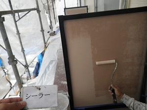 アパートバルコニー隔て板の塗装