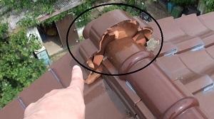 陶器瓦 棟押さえモルタルのひび割れ補修