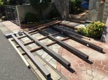 3フェンス支柱固定枠作り