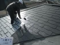 屋根上塗り1回目1