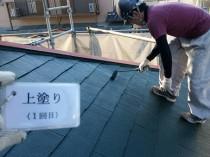 屋根上塗り1回目 (3)